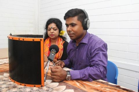 Voice recording at Bangladesh translation workshop 2018